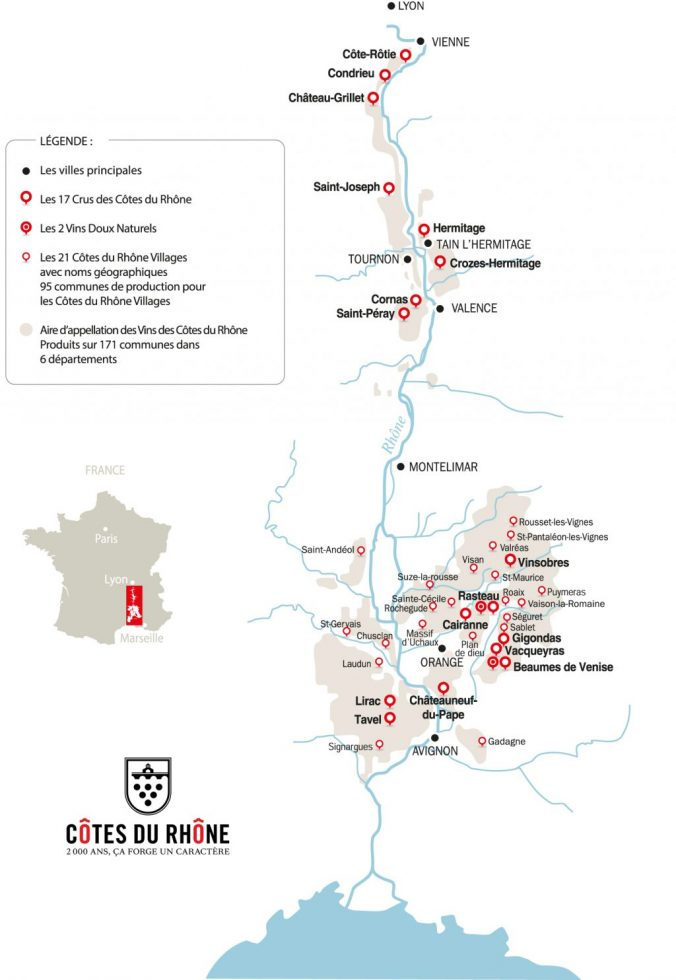 côtes du rhône wines map