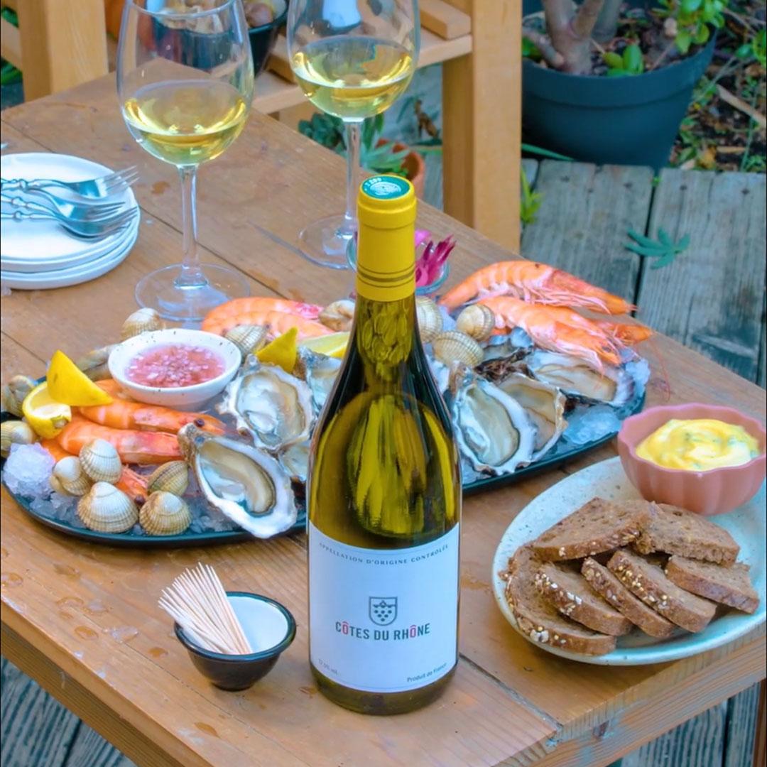 shellfish platter and côtes du rhône white