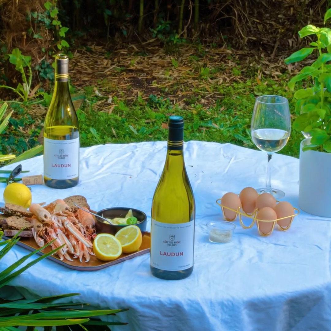 shrimp and cotes du rhone villages laudun wine