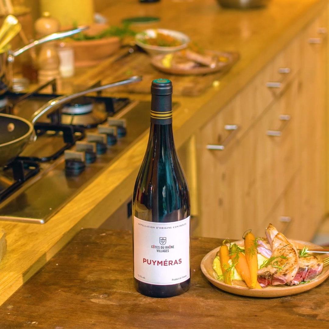 lamb and cotes du rhone villages puyméras wine