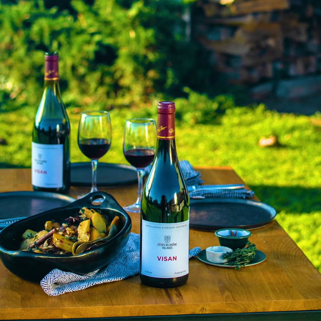 roast pork and visan cotes du rhone villages wine